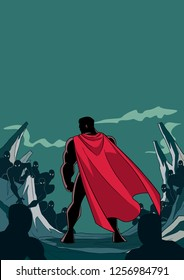 Rear view silhouette illustration of brave cartoon superhero standing alone in confrontation with the forces of evil as concept for courage and positive power.