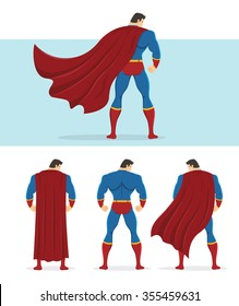 Rear view of superhero with red cape flowing in the wind. Below are 3 additional versions. No gradients used.