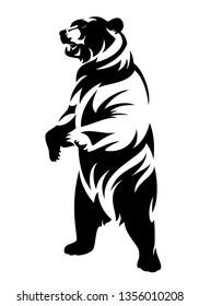 Aufzucht von braunem Bär (ursus arctos) - schwarz-weißer Vektorgrafik des stehenden Tieres