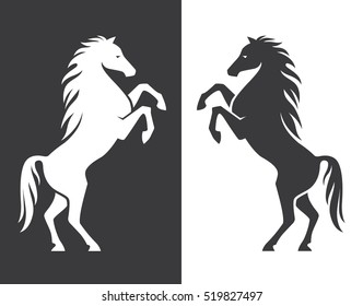 Rearing up horse monochrome silhouette. Can be used for logo, emblem or heraldry design concept