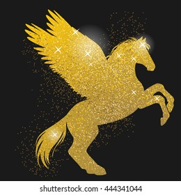 Rearing pegasus. Gold shimmering silhouette on black background. Hand drawn vector illustration
