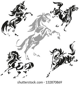 Rearing and prancing horses Dynamic, brush-drawn horse silhouettes.