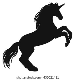 Rearing unicorn. Black silhouette. Hand drawn vector illustration