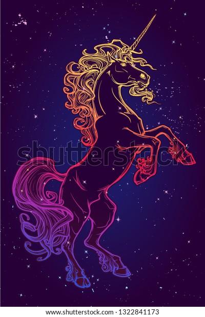 Rearing Unicorn Fantasy Concept Art Tattoo Stock Vector Royalty Free 1322841173