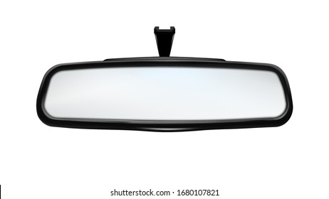 Rearview Mirror Car Traffic Safety Tool Vector. Rear-view Mirror Showing Barriers And Transport Parked Behind Vehicle Containing In Equipment. Reflection Glass Template Realistic 3d Illustration