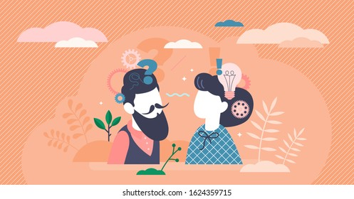 Reasoning abstract activity concept, flat tiny person couple planning and dealing with decision making process. Stylized vector illustration with creative question mark, light bulb and gear symbols.