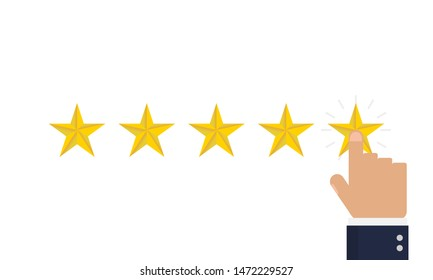 Reating star 5 with hand in flat style, vector illustration