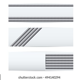 Rebars Induastrial banner template. Reinforcement steel for building. Vector illustration Isolated on white background.