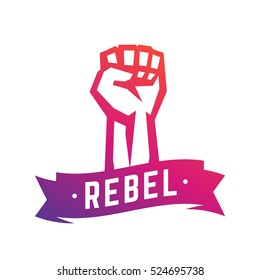 Rebel, revolt symbol, fist held high in protest, raised hand isolated over white, vector illustration