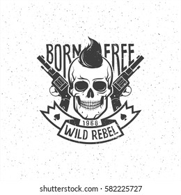 Rebel skull with pistols and hipster haircut - retro logo tattoo. Grunge texture on separate layers and can be easily disabled.