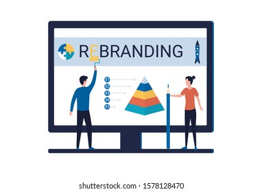 Rebranding concept, creating a new look for a company, product, service. A man and a woman are working on changing the brand image, expanding the scale of the business. Flat vector illustration.