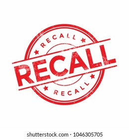 Recall stamp illustration isolated on white background.