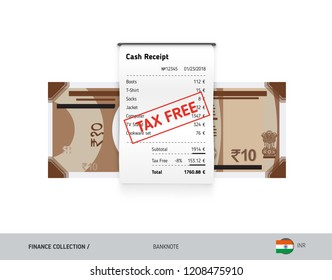 Receipt with 10 Indian Rupee Banknote. Flat style sales printed shopping paper bill with red tax free stamp. Shopping and sales concept.