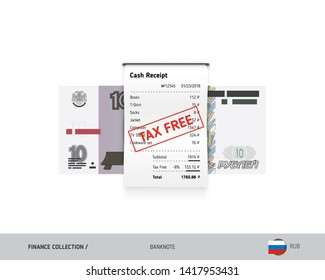 Receipt with 10 Russian Ruble Banknote. Flat style sales printed shopping paper bill with red tax free stamp. Shopping and sales concept.