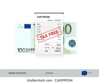 Receipt with 100 Euro Banknote. Flat style sales printed shopping paper bill with red tax free stamp. Shopping and sales concept.