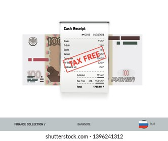 Receipt with 100 Russian Ruble banknote. Flat style sales printed shopping paper bill with red tax free stamp. Shopping and sales concept.
