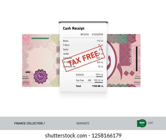 Receipt with 100 Saudi Arabia Riyal Banknote. Flat style sales printed shopping paper bill with red tax free stamp. Shopping and sales concept.