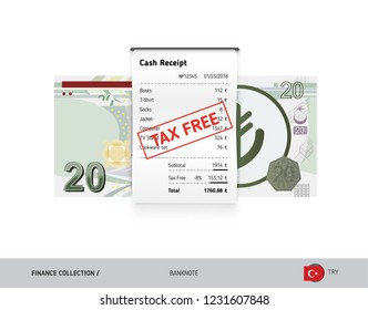 Receipt with 20 Turkish Lira Banknote. Flat style sales printed shopping paper bill with red tax free stamp. Shopping and sales concept.