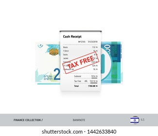 Receipt with 200 Israeli New Shekel banknote. Flat style sales printed shopping paper bill with red tax free stamp. Shopping and sales concept.
