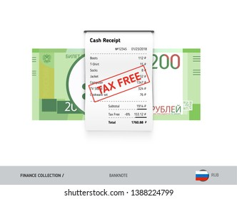 Receipt with 200 Russian Ruble banknote. Flat style sales printed shopping paper bill with red tax free stamp. Shopping and sales concept.