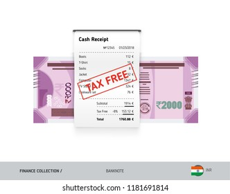 Receipt with 2000 Indian Rupee Banknote. Flat style sales printed shopping paper bill with red tax free stamp. Shopping and sales concept.