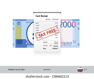 Receipt with 2000 Russian Ruble banknote. Flat style sales printed shopping paper bill with red tax free stamp. Shopping and sales concept.
