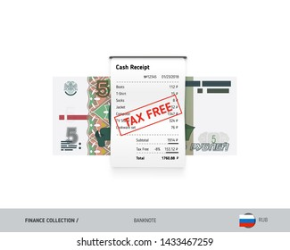 Receipt with 5 Russian Ruble banknote. Flat style sales printed shopping paper bill with red tax free stamp. Shopping and sales concept.