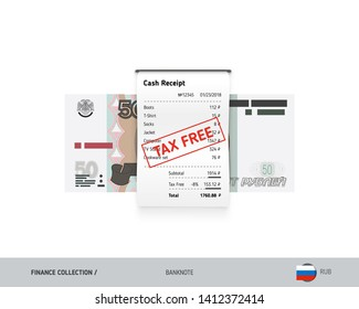 Receipt with 50 Russian Ruble banknote. Flat style sales printed shopping paper bill with red tax free stamp. Shopping and sales concept.