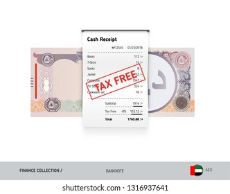 Receipt with 50 United Arab Emirates Banknote. Flat style sales printed shopping paper bill with red tax free stamp. Shopping and sales concept.