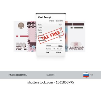 Receipt with 500 Russian Ruble banknote. Flat style sales printed shopping paper bill with red tax free stamp. Shopping and sales concept.