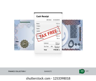 Receipt with 500 Saudi Arabia Riyal Banknote. Flat style sales printed shopping paper bill with red tax free stamp. Shopping and sales concept.