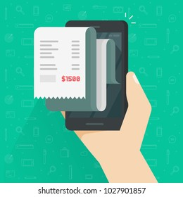 Receipt bill on smartphone vector illustration isolated, flat cartoon design paper invoice on mobile phone, cellphone electronic check on hand, internet banking concept, online tax cheque