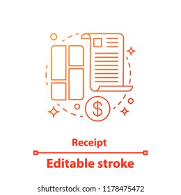 Receipt concept icon. Financial document idea thin line illustration. Invoice. Contract. Vector isolated outline drawing. Editable stroke