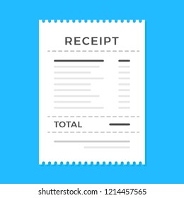 Receipt. Flat design. Vector illustration