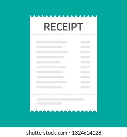 Receipt icon. Flat design. vector illustration concept image icon