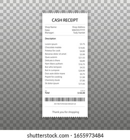 Receipt icon in a flat style isolated. Invoice sign. Vector illustration.