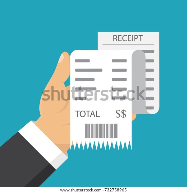 Receipt icon, flat style isolated on background. Invoice sign. Bill atm, financial check.Paper receipts icon. Vector