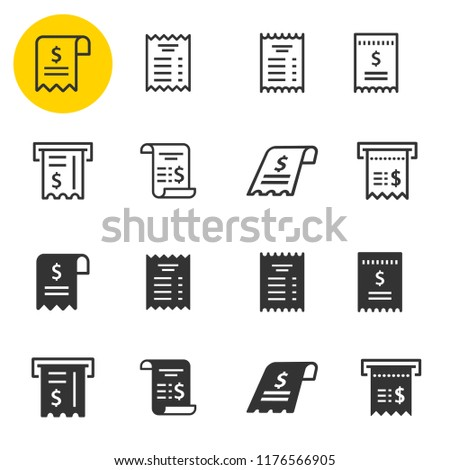 receipt icon set black vector illustrations isolated on white simple pictograms for graphic and