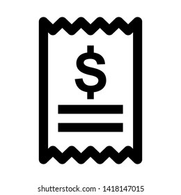 receipt icon. Vector illustration style white background. Designed for web and software interfaces. - Vector