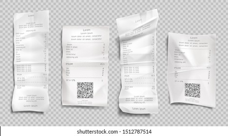 Receipt invoice, paper bills with qr codes for scan set isolated on transparent background. Supermarket shopping retail check and total cost store sale payment blank. Realistic 3d vector illustration