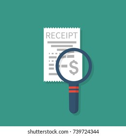Receipt and magnifying glass isolated on white background. Studying paying bill,  Payment of utility, bank, restaurant. Concept business finance. Vector flat design. Report invoice, expenses.