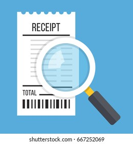 Receipt and magnifying glass. White bill and magnifier. Modern flat design concept. Vector illustration isolated on blue background