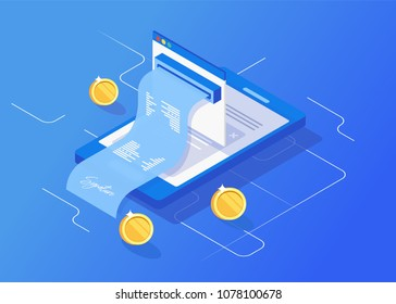 Receipt of notification on financial transaction,  statistics data, mobile bank, smartphone with paper bill, isometric vector technology