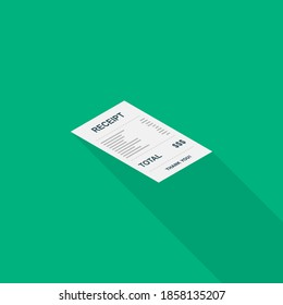 Receipt paper, bill check, invoice, cash receipt. Right view isometric icon. shop receipt or bill, atm check with tax/vat.