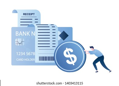 Receipt paper and credit card.Man rolls a coin.Cash and cashless payment concept,male character,trendy style vector illustration