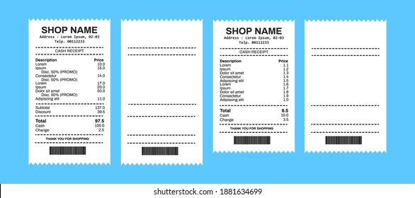 Receipt Set with Barcode Closeup Isolated on White Background. Design Template of Receipt Records, Paper Financial Check for Mockup. Top View