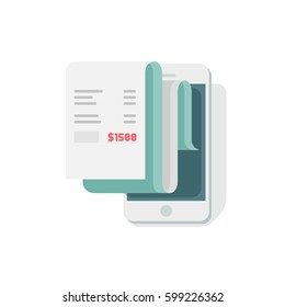Receipt in smartphone vector illustration, flat style mobile phone with invoice bill paper, concept of online payment, finance, tax