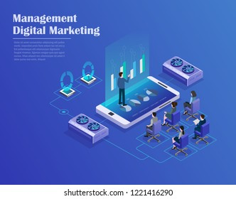 Receipt of statistics data, remote business meeting, business planning, financial transaction. Smartphone, businessmans in data center room, working group isometric vector.