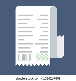Receipt vector icon in a flat style isolated on a colored background. Concept paper receipts icons. Design receipt icon with a total cost.