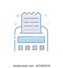 Receipt Vector illustration. Filled Outline Color Icon.